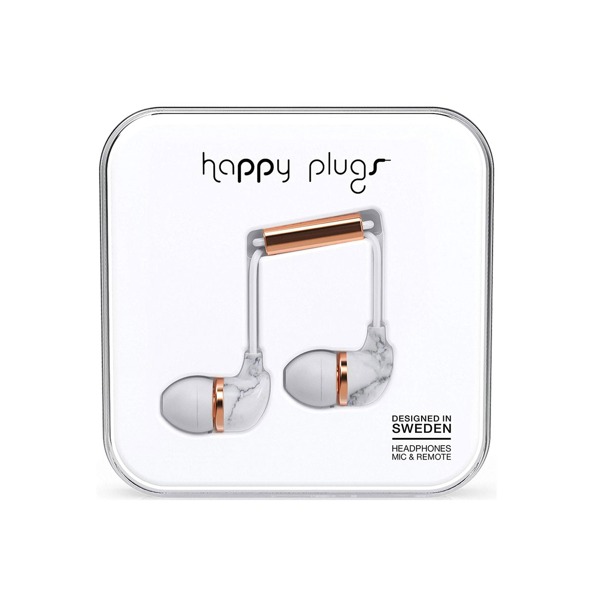 Happy Plugs In-Ear - White Marble / Rose Gold